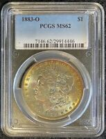 1883-O $1 MORGAN SILVER DOLLAR PCGS MINT STATE 62 GORGEOUS MULTICOLOR TONING BOTH SIDES