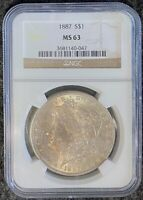 1887-P $1 MORGAN SILVER DOLLAR NGC SLAB MINT STATE 63 WITH TONED OBVERSE