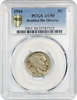 1916/1916 5C PCGS AU50 DOUBLED DIE OBVERSE  VARIETY - BUFFALO NICKEL