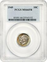 1949 10C PCGS MINT STATE 66 FB - ROOSEVELT DIME - COLORFUL TONING