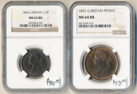 NICE  BRITISH 1894 HALFPENNY NGC MS63B & 1891 PENNY NGC MS64RB  CV $875  NO RS