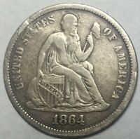 1864S  DATE SEATED LIBERTY DIME DECENT COIN
