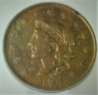 1837 CORONET HEAD LARGE CENT ICG VF 20 DETAILS CLEANED PLANC
