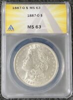 1887-O $1 MORGAN SILVER DOLLAR, ANACS SLAB, MINT STATE 63, BETTER DATE