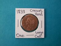 US COINS 1839 YEAR ONE LARGE CENT NICE COPPER COIN.