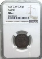 1728 PLUMES GEORGE II  GREAT BRITAIN 6 PENCE NGC MS61  MINTSTATE COIN ORIGINAL