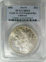 1886 SILVER MORGAN DOLLAR PCGS MINT STATE 64 VAM 1C CLASHED REVERSE CALIFORNIA COLLECTION