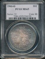1903-O MORGAN SILVER DOLLAR PCGS MINT STATE 65 STONE COLD ORIGINAL RAINBOW TONING