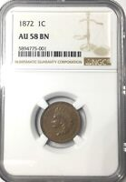 1872 INDIAN HEAD CENT  SHARP LUSTROUS BROWN AU58 NGC GRADED PREMIUM QUALITY COIN
