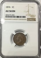 1876 INDIAN HEAD CENT  SHARP LUSTROUS BROWN AU58 NGC GRADED PREMIUM QUALITY COIN