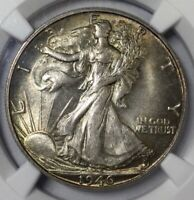 1946 S MS65 WALKING LIBERTY GORGEOUS TONED CHOICE ORIGINAL COIN NGC GRADED COIN