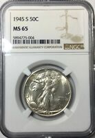 1945 S MS65 WALKING LIBERTY GORGEOUS CHOICE ORIGINAL COIN NGC GRADED COIN