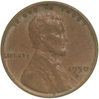 1950 D LINCOLN WHEAT CENT EXTRA FINE PENNY EXTRA FINE