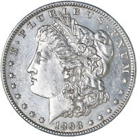 1898 MORGAN SILVER DOLLAR ABOUT UNCIRCULATED AU REVERSE SCRATCHES SEE PICS F671