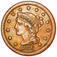 1856 BRAIDED HAIR LARGE CENT STRONG FEATURES 1C COPPER COLLE