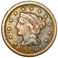 1848 BRAIDED HAIR LARGE CENT NICE DEFINING DETAIL 1C COPPER