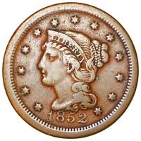 1852 BRAIDED HAIR LARGE CENT VERY NICE FEATURES 1C COPPER CE