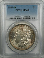 1903-O MORGAN SILVER DOLLAR $1 COIN PCGS MINT STATE 63 TONED 12-A