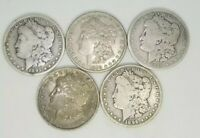 MORGAN SILVER DOLLARS CULL LOT OF5 1878-1904 MIXED YEAR AND MINT PRE 1921 G-VF