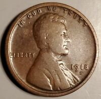 1918-D LINCOLN CENT WITH A  ATTRACTIVE OLD NATURAL TONE - BARGAIN PRICED.