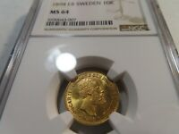 M6 SWEDEN 1894 EB GOLD 10 KRONOR NGC MS 64