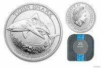 2016 AUSTRALIA $.50 TIGER SHARK 1/2OZ SILVER COINS   TUBE OF