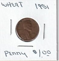 1951 - LINCOLN WHEAT CENT - GOOD - BX8 - SHIPS FREE