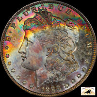 1888 O MORGAN SILVER DOLLAR PCGS MINT STATE 64 RAINBOW TONED  DATE