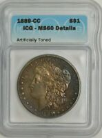 1889-CC MORGAN DOLLAR $ MINT STATE 60 DETAILS ICG 939061-1