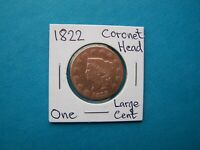 US COINS 1822 YEAR ONE LARGE CENT NICE COPPER COIN.