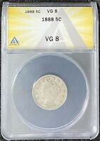 1888 5C LIBERTY NICKEL, ANACS SLAB VG 8, BETTER DATE