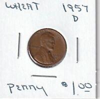 1957 D - LINCOLN WHEAT CENT - GOOD - BX3 - SHIPS FREE