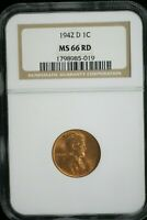 1942 D LINCOLN WHEAT CENT NCG MINT STATE 66 RD   M-2135