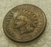1877 INDIANHEAD CENT    FINE    PART LIBERTY    KEY DATE COI