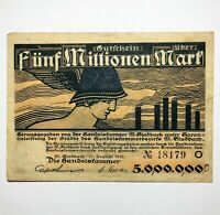 1923 GERMANY 5.000.000 MARKS HAND SIGNED DATED AND INSCRIBED WW2