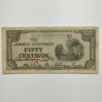 1942 PHILIPPINES 50 CENTAVOS JAPANESE OCCUPATION HAND SIGNED & INSCRIBED P 105
