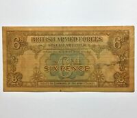 ND  1946 BRITISH ARMED FORCES SPECIAL VOUCHER 6 PENCE MILITARY CURRENCY PIK M10