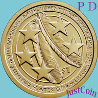2021 P&D NATIVE AMERICAN TWO GOLDEN DOLLARS SET DISTINGUISHED MILITARY SERVICE