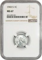1943-S 1C NGC MINT STATE 67 - POPULAR STEEL CENT FROM WW2 - LINCOLN CENT