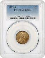1919-S 1C PCGS MINT STATE 63 BN - LINCOLN CENT