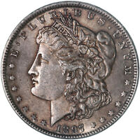 1897 MORGAN SILVER DOLLAR BU US MINT COIN TONED SEE PICS F176