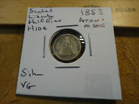 1853 ARROWS AT DATE UNITED STATES SEATED LIBERTY SILVER HALF DIME H10C COIN