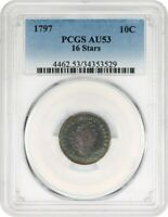 1797 10C PCGS AU53 16 STARS BEAUTIFUL AU - BUST DIME - BEAUTIFUL AU