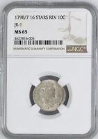 1798 DRAPED BUST 10C NGC MINT STATE 65