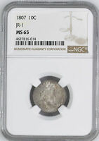 1807 DRAPED BUST 10C NGC MINT STATE 65
