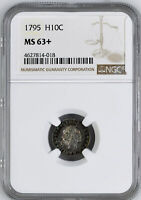 1795 FLOWING HAIR H10C NGC MINT STATE 63