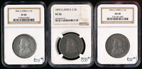 1892 1896 THREE SOUTH AFRICA 2 1/2 SHILLINGS NGC CERTIFIED