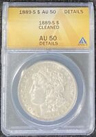 1889-S $1 MORGAN SILVER DOLLAR, ANACS SLAB AU 50 DETAILS, TOUGH DATE
