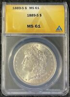 1889-S $1 MORGAN SILVER DOLLAR SEMI-KEY ANACS MINT STATE 61 BLAST WHITE COIN FULL BREAST