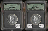 TWO 1947 CANADA 50 DIFFERENT VARIETIES  ICG CERTIFIED MS62 &